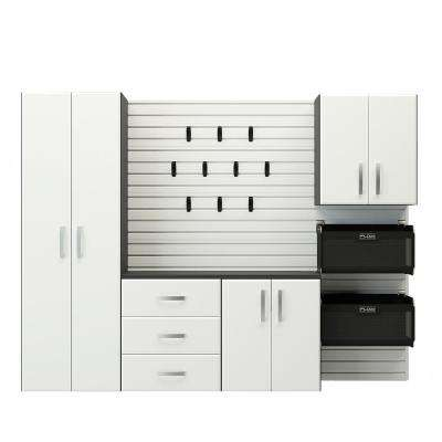 Deluxe Modular Wall Mounted Garage Cabinet Storage Set with Accessories in White (5-Piece)
