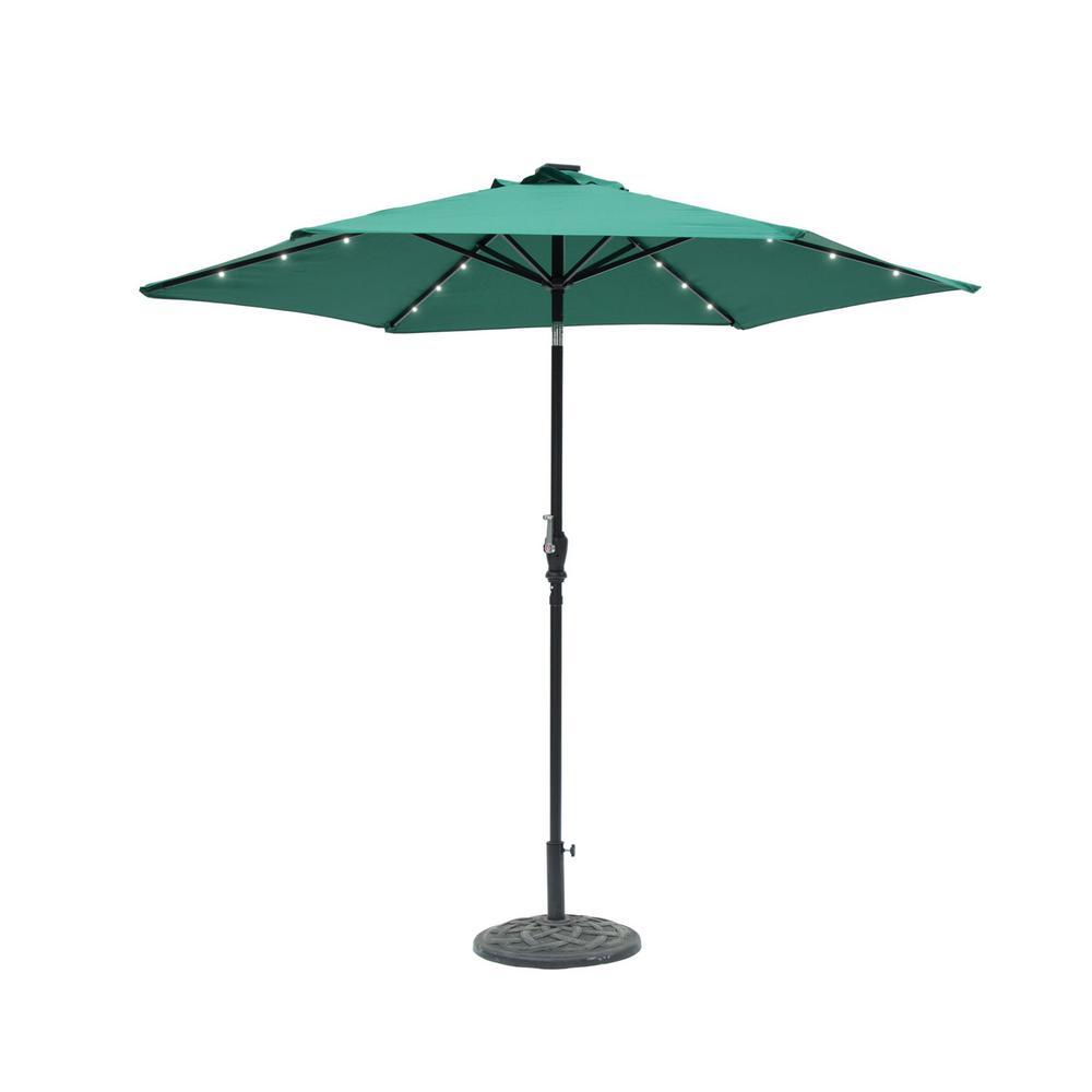9 Ft Round 6 Rib Steel Solar Lighted Market Patio Umbrella In Hunter Green