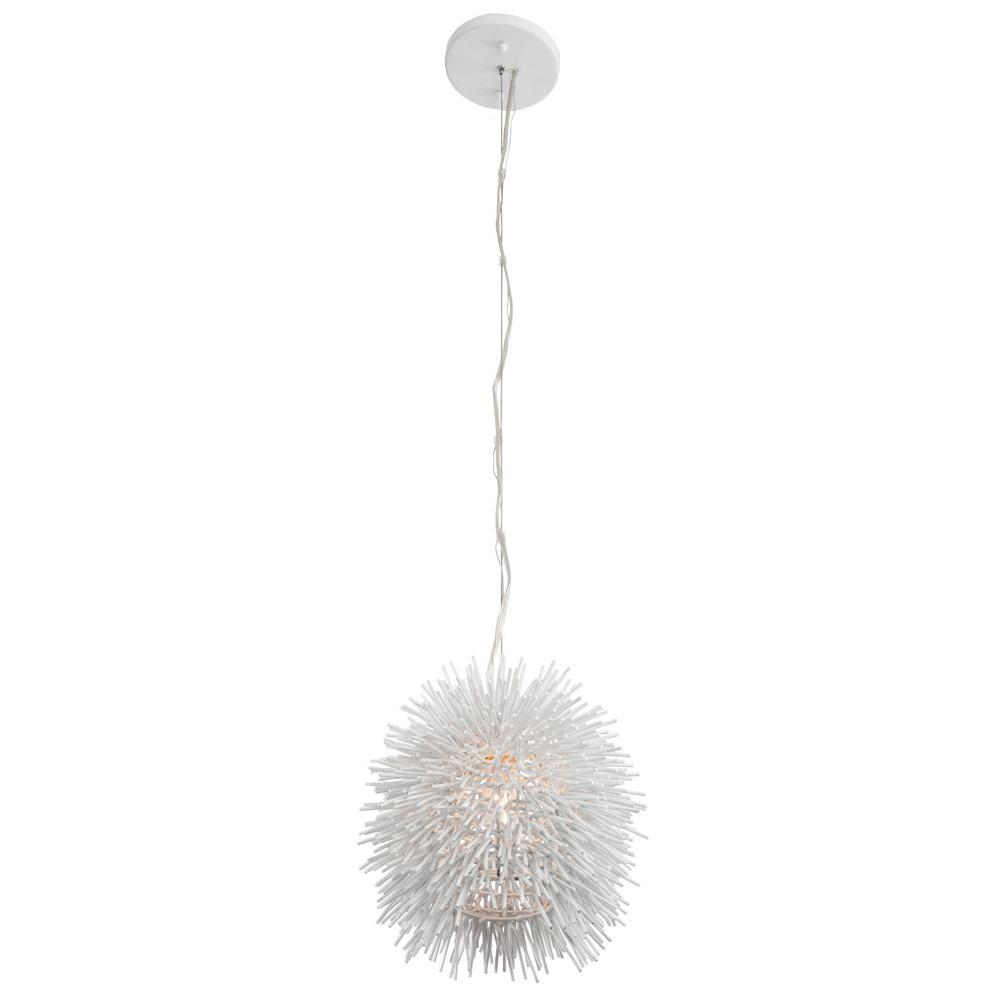 Varaluz Urchin 1-Light White Mini Pendant