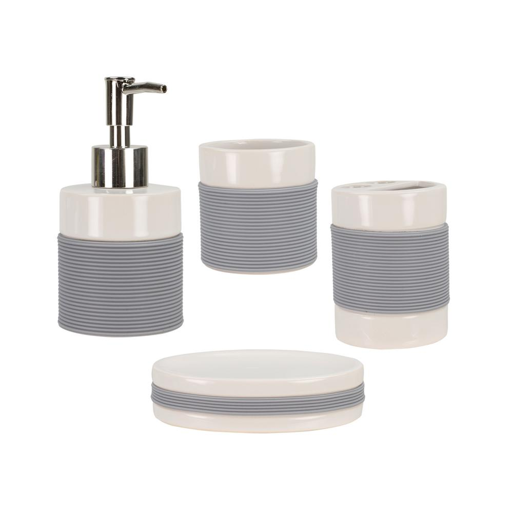 4 Piece Bath Accessory Set With Rubber Grip In White Hdc51916 The