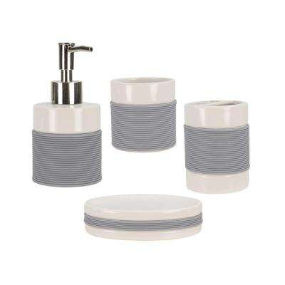 4-Piece Bath Accessory Set with Rubber Grip in White