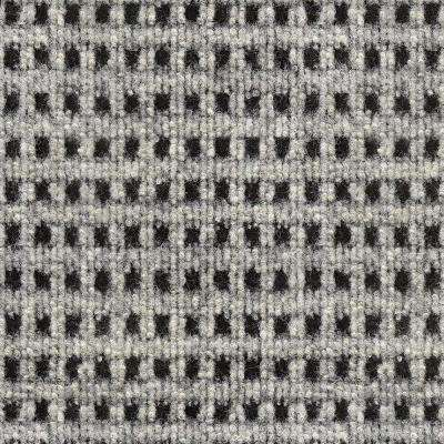 First Impressions Tattersall Ivory with Black Texture 24 in. x 24 in. Carpet Tile (15 Tiles/Case)