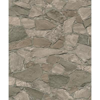 56.4 sq. ft. Stanley Charcoal Stone Wallpaper