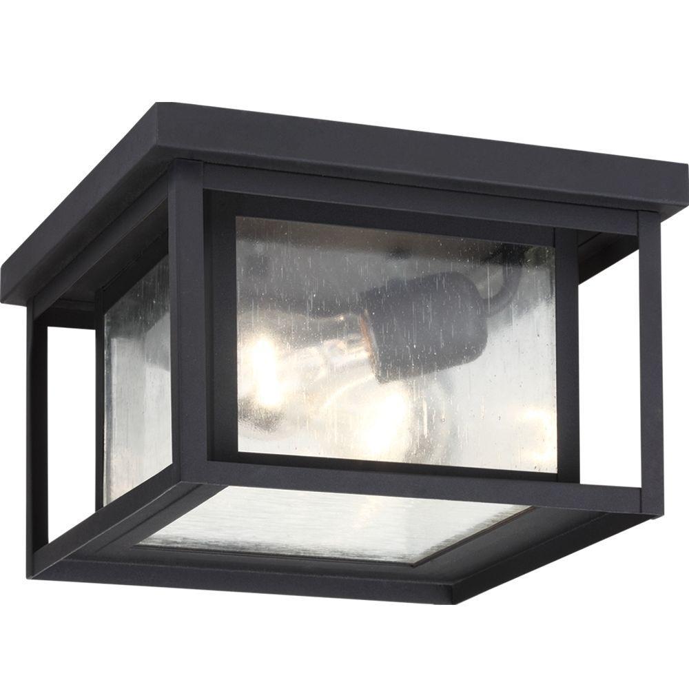 Hunnington 2-Light Outdoor Black Flush Mount