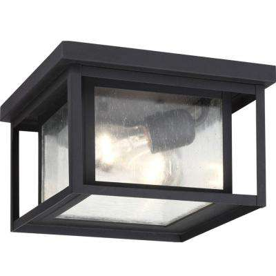 Hunnington 2-Light Outdoor Black Flush Mount