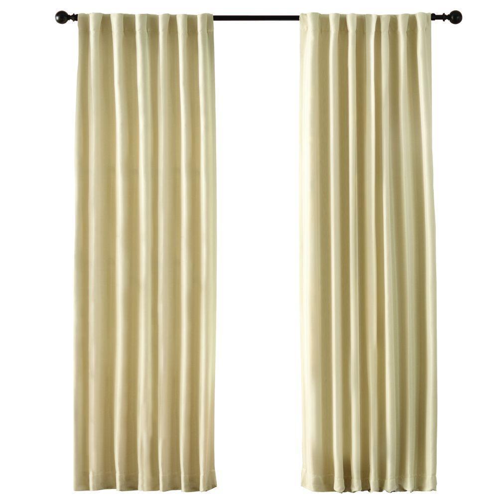 Semi-Opaque Cream Room Darkening Back Tab Curtain