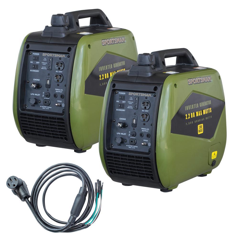 4,400-Watt to 3,600-Watt Portable Duel Fuel Inverter Generator Kit with 50 Amp Parallel Cable
