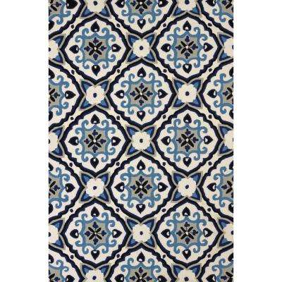 Atrium Mosaic Medallion Navy 7 ft. 10 in. x 9 ft. 10 in. Area Rug