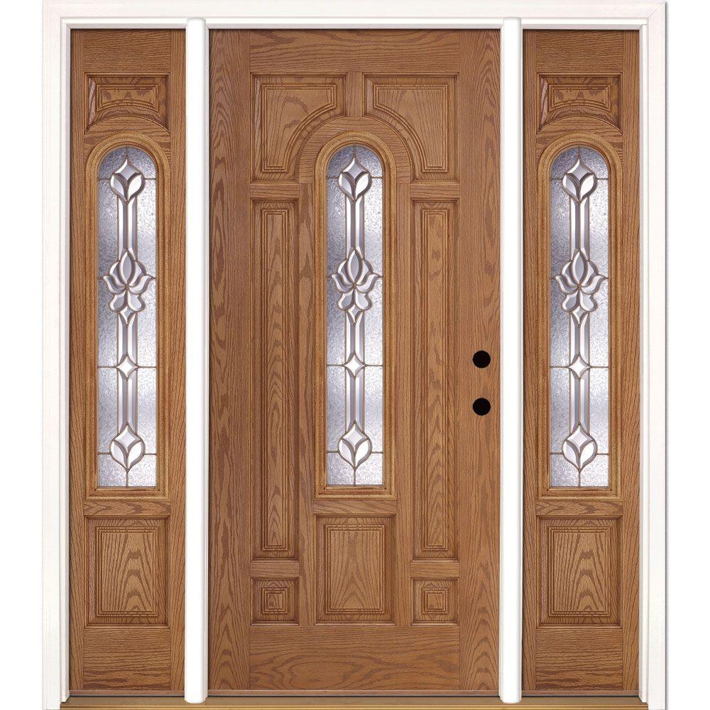 Feather River Doors 67 5 In Medina Brass Center Arch Lite Stained Light Oak Left