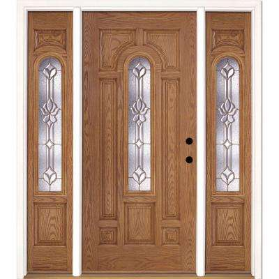 67.5 in.x81.625 in. Medina Brass Center Arch Lite Stained Light Oak Left-Hand Fiberglass Prehung Front Door w/ Sidelites