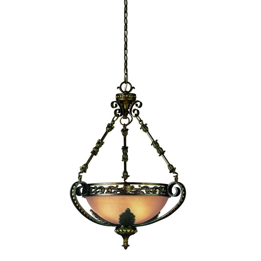 Eurofase Gallante Collection 3-Light French Gold Hanging Bowl Pendant
