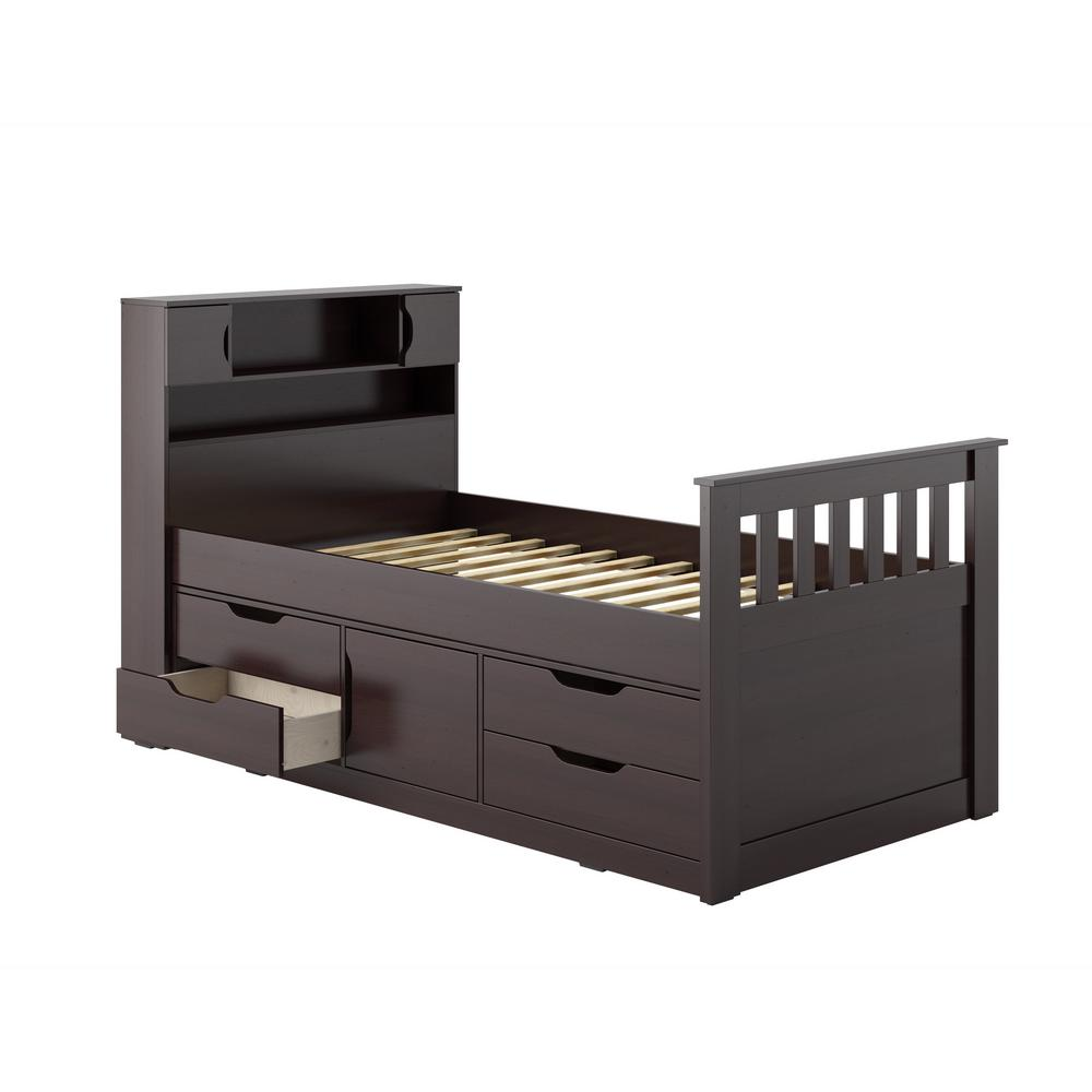Corliving Twin Single Rich Espresso Captains Bed Madison