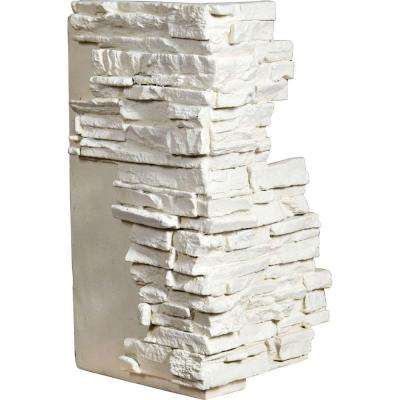 1-1/2 in. x 13-3/4 in. x 25 in. Dove White Urethane Stacked Stone Outer Corner Wall Panel