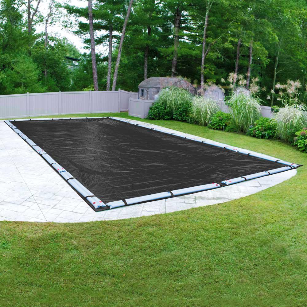 Mesh 16 ft. x 32 ft. Pool Size Rectangular Black Mesh Winter In Ground Pool Cover