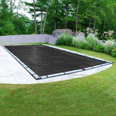 Mesh 25 ft. x 50 ft. Pool Size Rectangular Black Mesh In Ground Winter Pool Cover