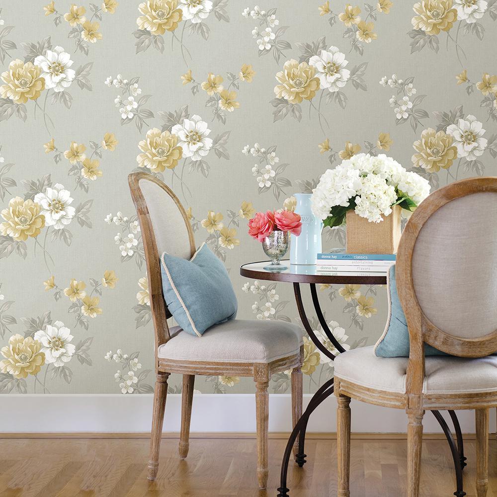 Keighley Grey Floral Wallpaper Sample