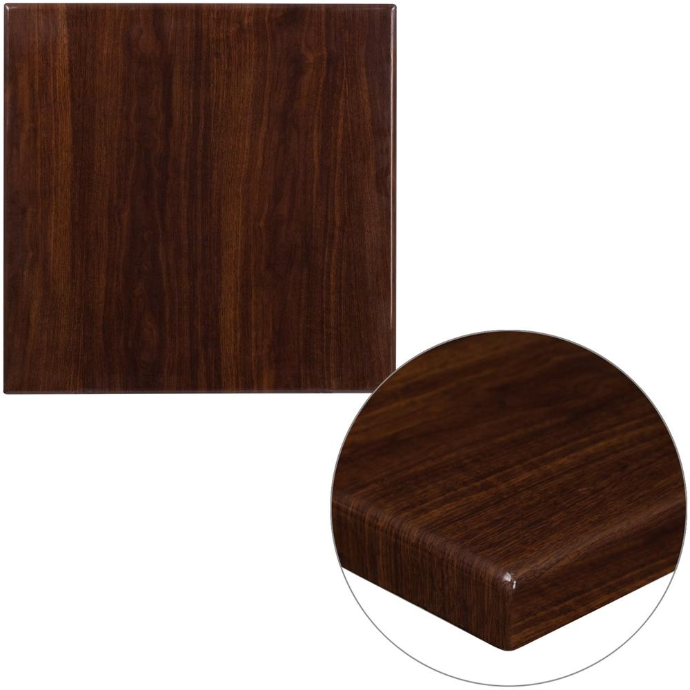 24 in. Square High-Gloss Walnut Resin Table Top with 2 in.