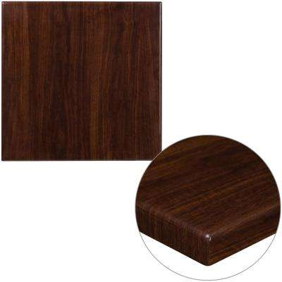 24 in. Square High-Gloss Walnut Resin Table Top with 2 in. Thick Drop-Lip