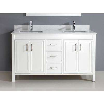 Dawlish 60 in. Vanity in White with Solid Surface Marble Vanity Top in White