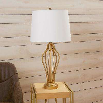 Bellamy Open Framed Urn 29 in. Gold Table Lamp with Shade