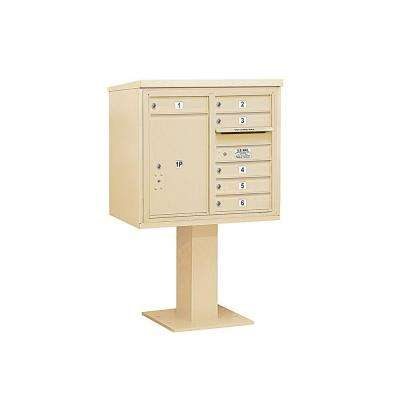 3400 Series 55-1/8 in. 7 Door High Unit Sandstone 4C Pedestal Mailbox with 6 MB1 Doors/1 PL6