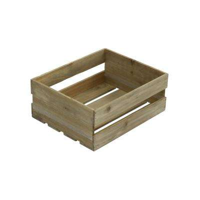 Small Wood Crate in Weathered Gray