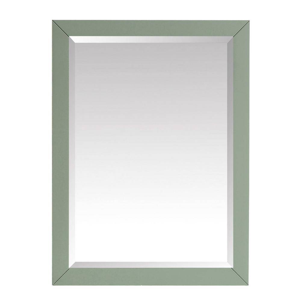 27.25 in. W x 32.00 in. H Framed Rectangular Beveled Edge Bathroom Vanity Mirror in Sea Green finish