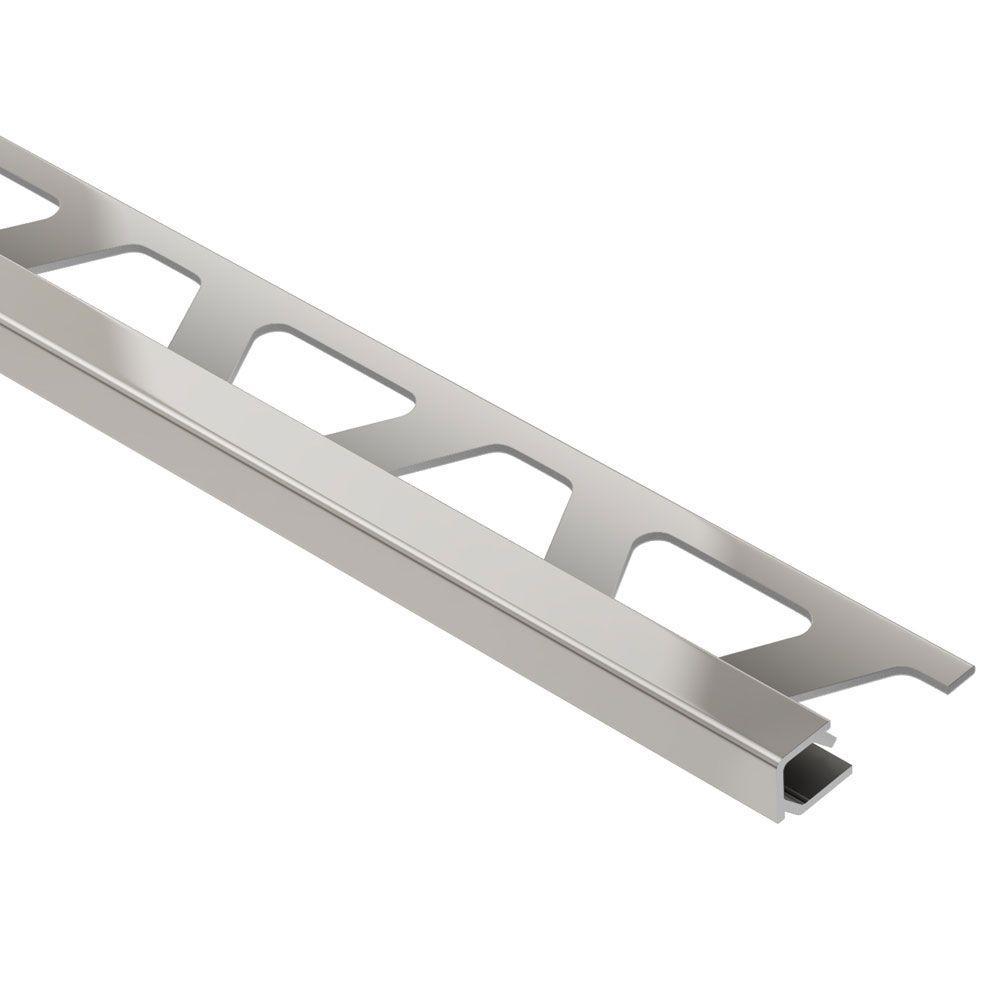 Quadec Satin Nickel Anodized Aluminum 1/2 in. x 8 ft. 2-1/2 in. Metal Square Edge Tile Edging Trim