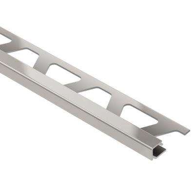 Quadec Satin Nickel Anodized Aluminum 3/8 in. x 8 ft. 2-1/2 in. Metal Square Edge Tile Edging Trim