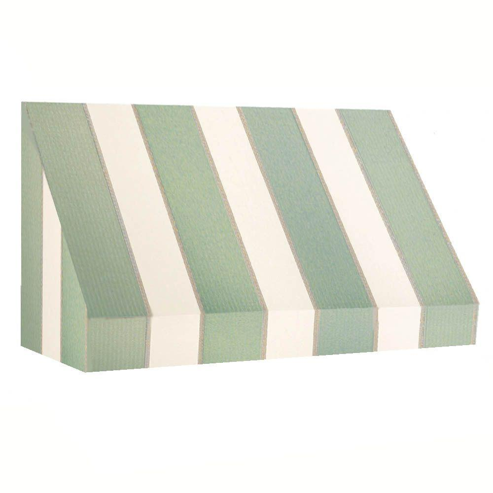 AWNTECH 50 ft. New Yorker Window/Entry Awning (44 in. H x 48 in. D) in Sage/Linen/Cream Stripe