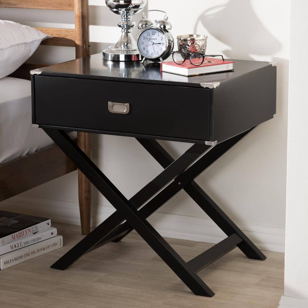 Curtice 1-Drawer Black Nightstand