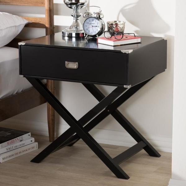 Baxton Studio Curtice 1-Drawer Black Nightstand 28862-7628-HD