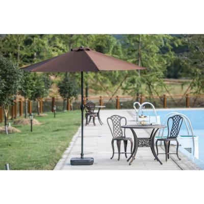 9 ft. Powder-Coated Steel Crank Patio Market Umbrella in Brown