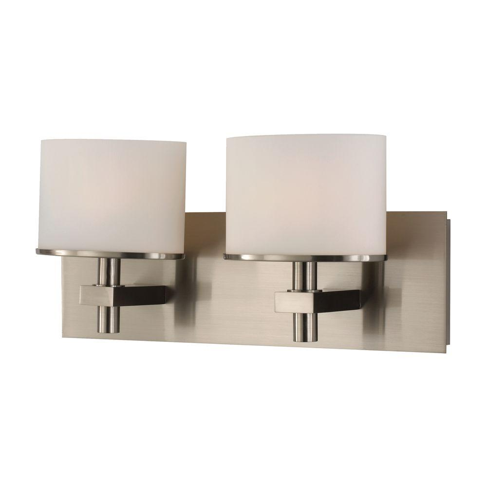 Ombra 3-Light Satin Nickel Vanity Light with White Opal Glass