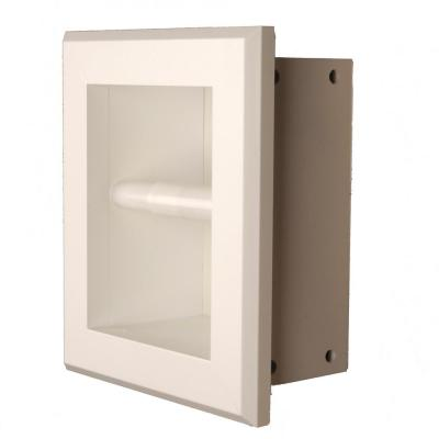 Newton Recessed Toilet Paper Holder 7 Holder in White with Bevel Frame