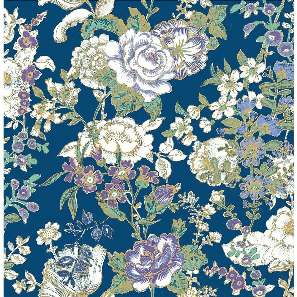 Ainsley Indigo Boho Floral Wallpaper Sample