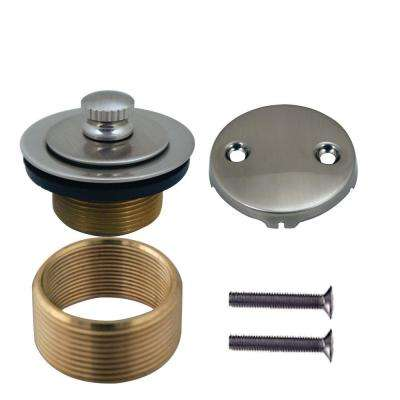 Universal Twist and Close Tub Waste Trim Kit in Satin Nickel