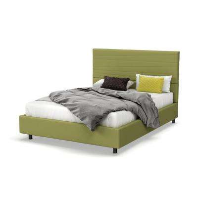 Prana Green Fabric Queen Size Bed