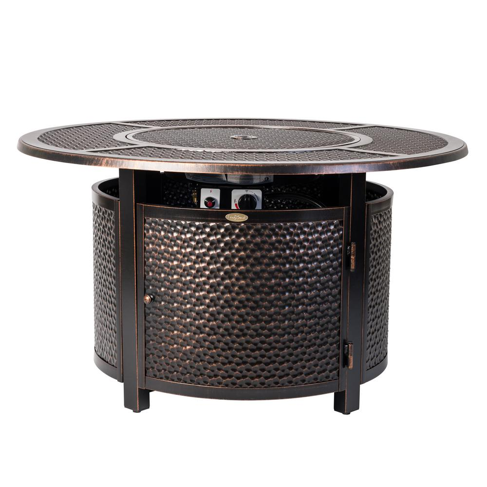 Fire Sense Briarwood 44 in. x 24 in. Round Aluminum Propane Fire Pit Table in Antique Bronze