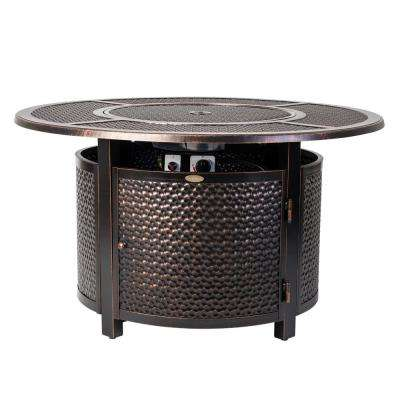 Briarwood 44 in. x 24 in. Round Aluminum Propane Fire Pit Table in Antique Bronze