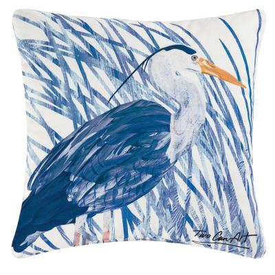 Blue Heron Blue/White Standard Pillow