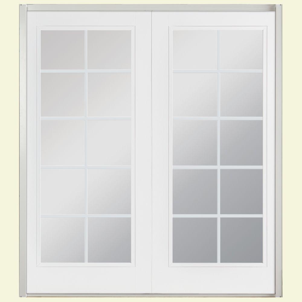 Masonite 72 in. x 80 in. Ultra White Prehung Left-Hand Inswing 10 Lite Steel Patio Door with No Brickmold in Vinyl Frame