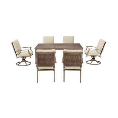 Geneva 7-Piece Brown Wicker Outdoor Patio Dining Set with CushionGuard Putty Tan Cushions