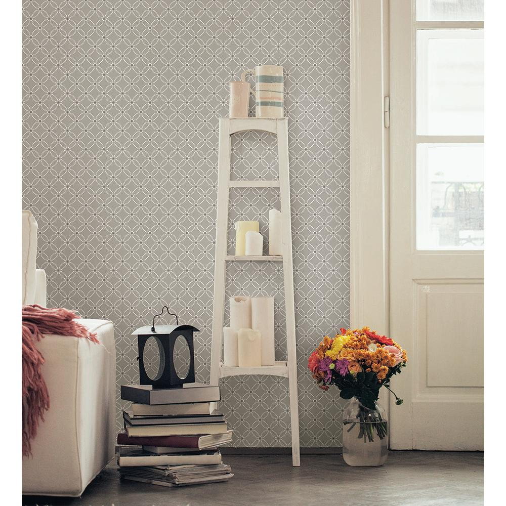 brewster kinetic grey geometric floral wallpaper