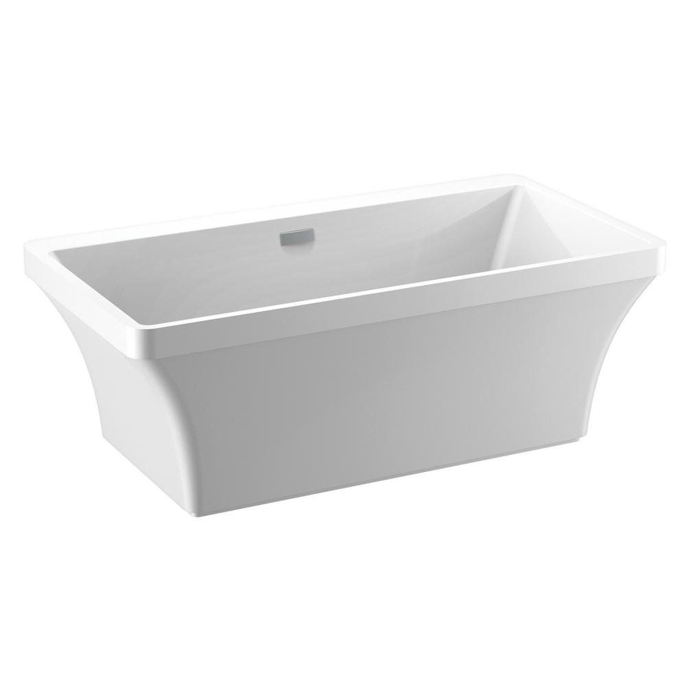 Delta Everly 60 in. Acrylic Flatbottom Bathtub with Integrated Waste and Overflow in White
