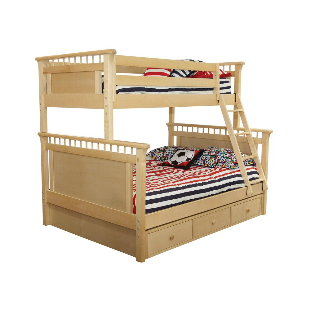 Bennington Natural Twin Over Full Bunk Bed with Underbed 3-Drawer Storage Case
