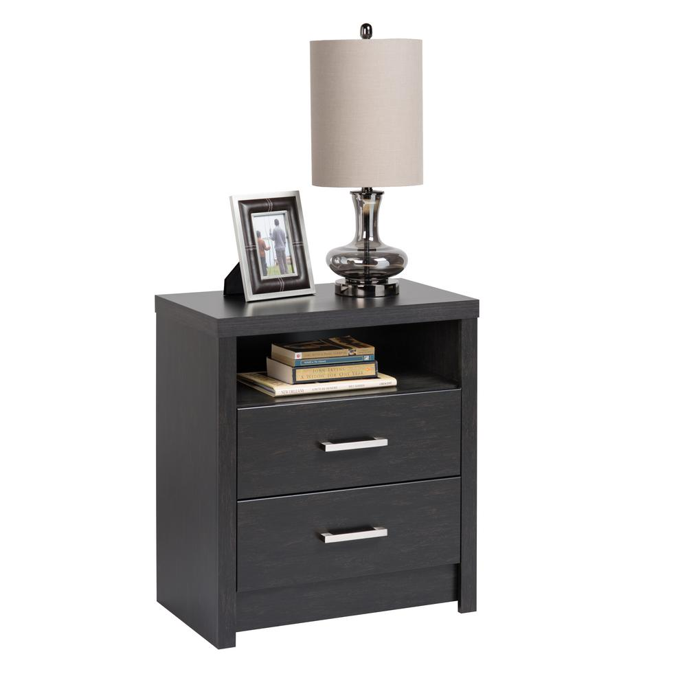 Prepac District 2 Drawer Washed Black Nightstand