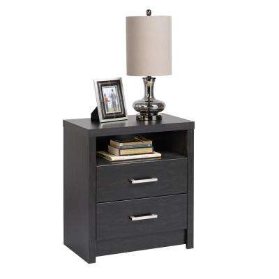 District 2-Drawer Washed Black Nightstand