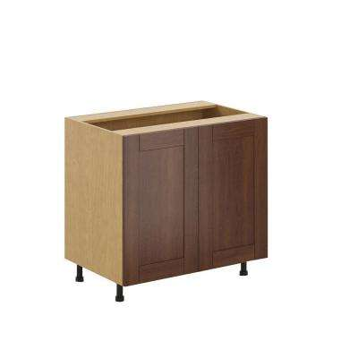 Ready to Assemble 36x34.5x24.5 in. Lyon Full Height Base Cabinet in Maple Melamine and Door in Medium Brown