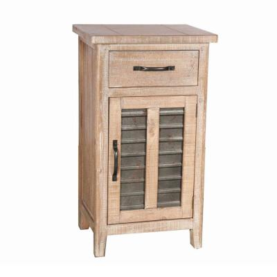 Farmhouse Large Brown Storage Accent Cabinet with Drawer and Metal Insert Door 19.69 in. L x 15.75 in. W x 35.43 in. H